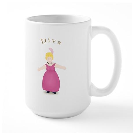 Blond Diva in Rose Dress Large Mug