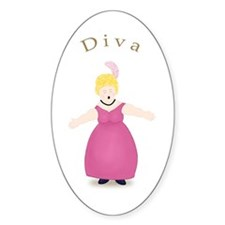 Blond Diva in Rose Dress Oval Decal