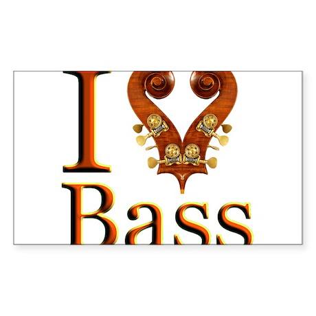 I Love Bass Rectangle Sticker