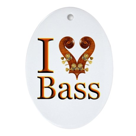 I Love Bass Oval Ornament