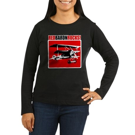 Red Baron Rocks! Women's Long Sleeve Dark T-Shirt