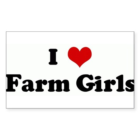 I Love Farm Girls Rectangle Sticker