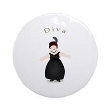 Brunette Diva in Black Dress Ornament (Round)