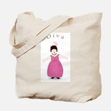 Brunette Diva in Rose Dress Tote Bag