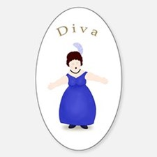 Brunette Diva in Blue Dress Oval Decal