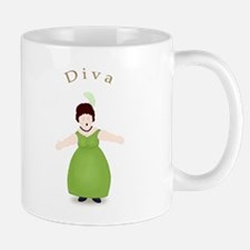 Brunette Diva in Green Dress Mug