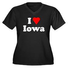 I Love Iowa Women's Plus Size V-Neck Dark T-Shirt