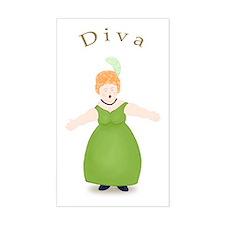 Strawberry Blond Diva in Green Sticker (Rectangula