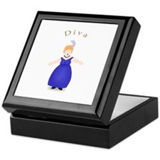Strawberry Blond Diva in Blue Dress Keepsake Box