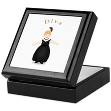 Strawberry Blond Diva in Black Dress Keepsake Box