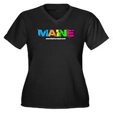 Colorful Maine Women's Plus Size V-Neck Dark T-Shi