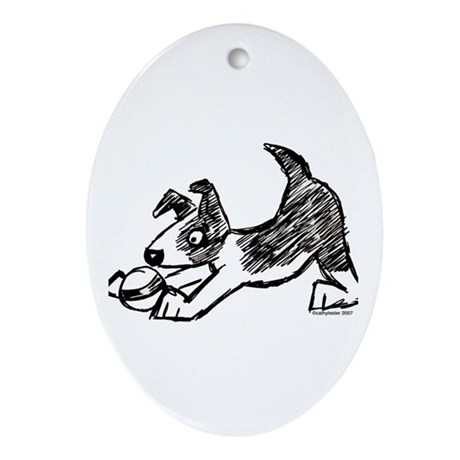 Dog Playing With Ball Oval Ornament