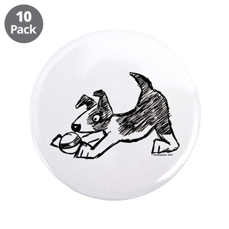 "Dog Playing With Ball 3.5"" Button (10 pack)"