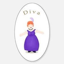 Redhead Diva in Purple Dress Oval Decal