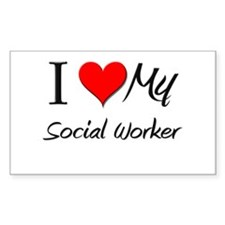 I Heart My Social Worker Rectangle Decal