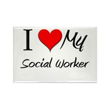 I Heart My Social Worker Rectangle Magnet