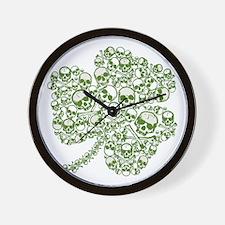 Shamrock Skull St Patricks Day Wall Clock
