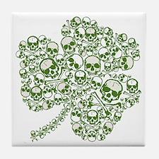 Shamrock Skull St Patricks Day Tile Coaster