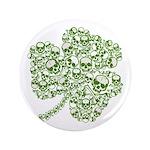 "Shamrock Skull St Patricks Day 3.5"" Button"