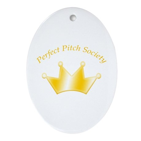 Perfect Pitch Society Gold Crown Oval Ornament