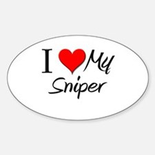 I Heart My Sniper Oval Decal