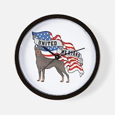 Doberman United We Stand American Flag Wall Clock