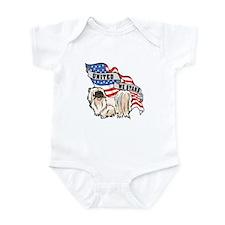 Pekingese United We Stand American Flag Infant Bod