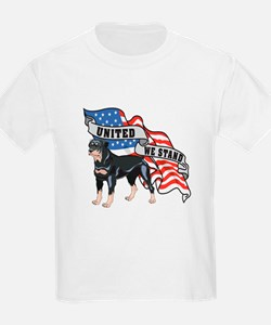 Rottweiler United We Stand American Flag T-Shirt