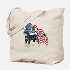Rottweiler United We Stand American Flag Tote Bag