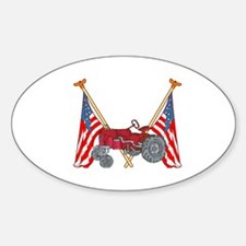 American Flags Red Tractor Oval Decal