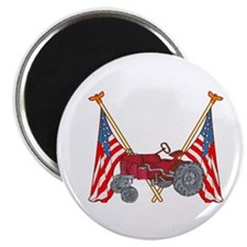 American Flags Red Tractor Magnet