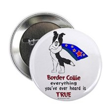 "Super Border Collie- black 2.25"" Button"