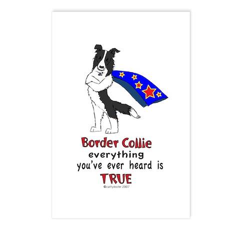 Super Border Collie- black Postcards (Package of 8