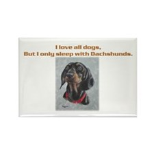 Sleeps with Dachshund Rectangle Magnet