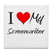 I Heart My Screenwriter Tile Coaster