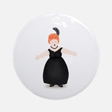 Redhead Singer in Black Dress Ornament (Round)