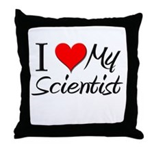I Heart My Scientist Throw Pillow