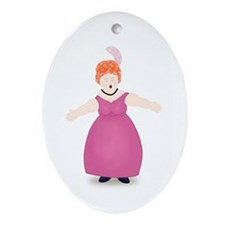 Redhead Singer in Rose Dress Oval Ornament
