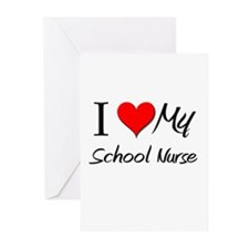 I Heart My School Nurse Greeting Cards (Pk of 10)