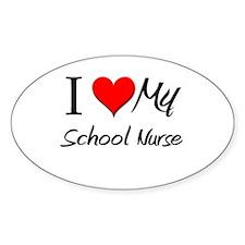 I Heart My School Nurse Oval Decal