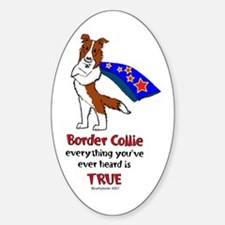Super Border Collie-red Oval Decal