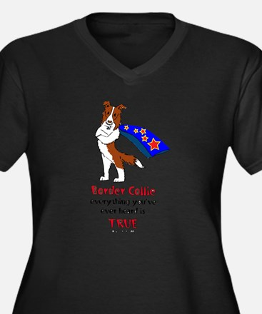 Super Border Collie-red Women's Plus Size V-Neck D