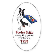 Super Border Collie Tri Oval Decal