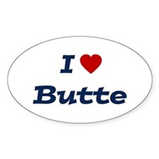 I HEART BUTTE Oval Decal