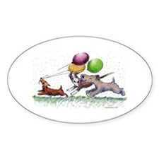 Dog Balloon Party Oval Decal