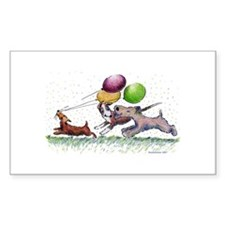 Dog Balloon Party Rectangle Decal