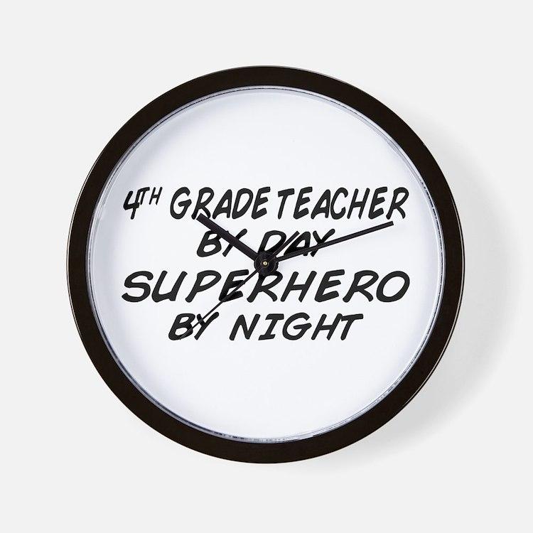 4th Grade Teacher Superhero Wall Clock