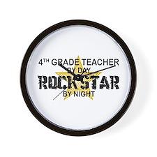 4th Grade Teacher Rock Star Wall Clock