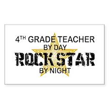 4th Grade Teacher Rock Star Rectangle Decal