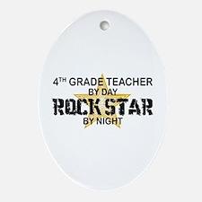 4th Grade Teacher Rock Star Oval Ornament